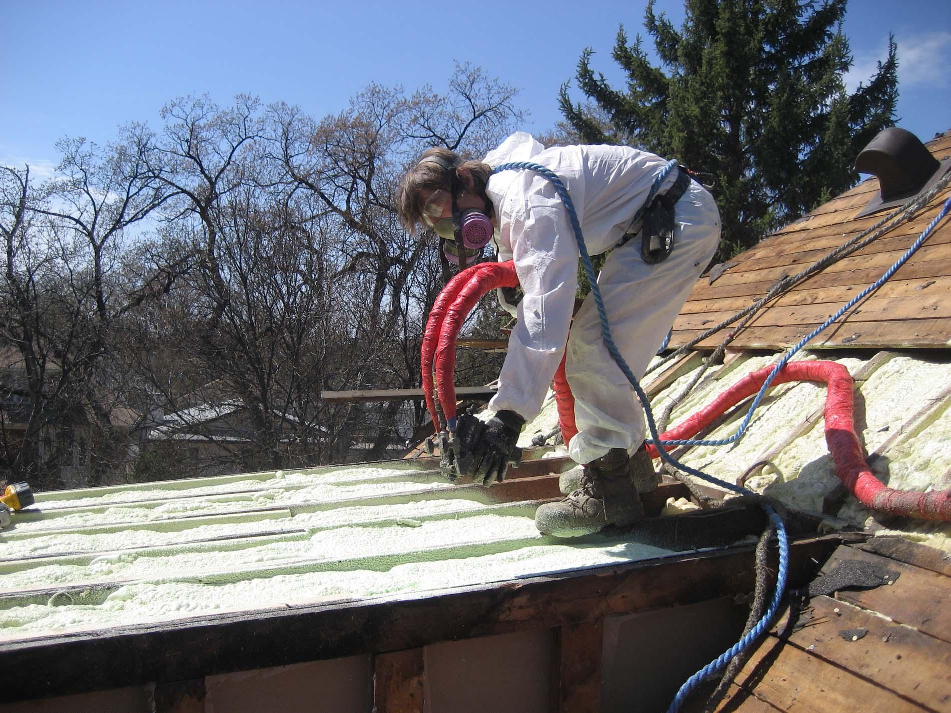 Spray foam insulation on Winnipeg home